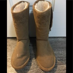 Girl's Suede BearPaw Boots
